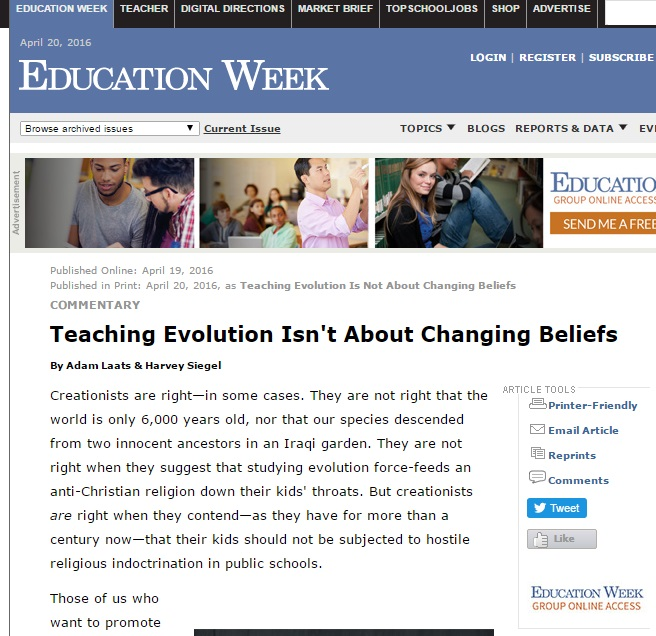 Ed Week creationism